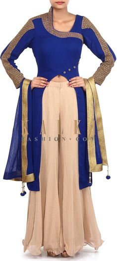 Buy Online from the link below. We ship worldwide (Free Shipping over US$100). Product SKU - 305895.Product Link - http://www.kalkifashion.com/royal-blue-suit-adorn-in-zardosi-embroidery-only-on-kalki.html