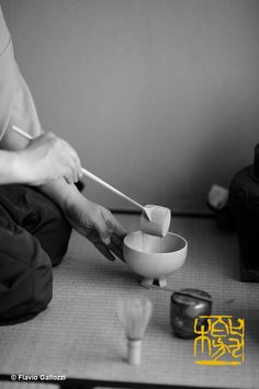 Chanoyu, pouring the water with the hishaku in the chawan, in the tea ceremony performed by Minemura sensei in Kitakata, Fukushima Prefectur...