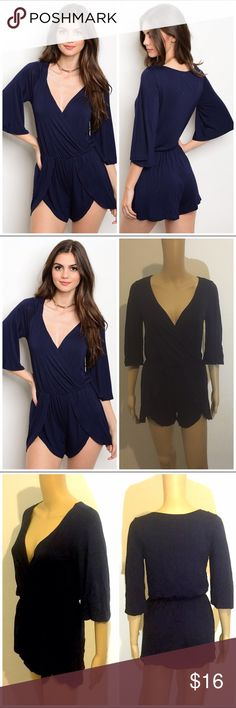 NIP Navy Romper ****PRICE FIRM NO TRADES****   3/4 bell sleeve surplice front smock waist jersey romper.   95% RAYON 5% SPANDEX  Color: Navy  Item is brand new from my boutique.  ****PRICE FIRM NO TRADES**** ****PRICE FIRM NO TRADES**** ****PRICE FIRM NO TRADES**** Pants Jumpsuits & Rompers