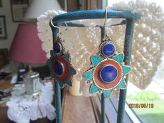 "Vintage Awesome Genuine Turquoise, Red Coral & Lapis Lazuli 925 Sterling Silver Dangle Earrings, 2"" Long, Wt. 22.3g"