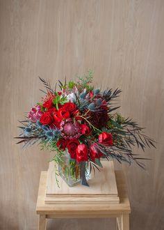 Bridal bouquet - protea, tulips, roses