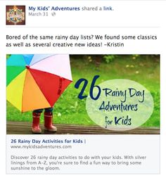 rainy day essay 26 Rainy Day Activities for Kids Email Marketing Strategy, Small Business Marketing, Facebook Marketing, Social Media Marketing, Rainy Day Activities For Kids, Activities To Do, Indoor Activities, Rainy Day Essay, Best Facebook