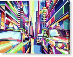 Pop Art New York City Taxi Cabs - Canvas Print - 16.000 x 10.750 / Mirrored / Matte