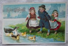 icollect247.com Online Vintage Antiques and Collectables - 1910 Easter Postcard Featuring Dutch Children Paper