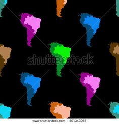 Map Of South America. Latin America. Brazil. Seamless pattern. Black background.