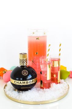 Spangle your glassware with this simple DIY gold decor idea from @SugarAndCloth. Complete the look with a Chambord cocktail.