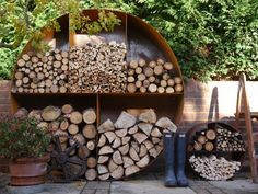 The Woodstock Original Circular Log Store Large : Are you interested in our metal log storage? With our circular garden storage you need look no further. Outdoor Firewood Rack, Firewood Storage, Outdoor Storage, Outdoor Projects, Garden Projects, Wood Shed, Back Gardens, Garden Inspiration, Backyard Landscaping