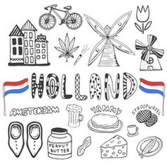 Doodle hand drawn collection of Holland icons. Netherlands culture elements for… Scrapbook Travel Album, Little Passports, Disney Coloring Pages, Thinking Day, Mixed Media Canvas, Art Festival, Journal Inspiration, Netherlands, Art For Kids