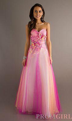 Floor Length Strapless Floral Embellished Dress at PromGirl.com