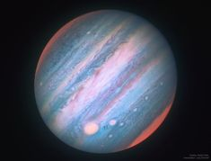Jupiter looks a bit different in infrared light. To better understand Jupiter's cloud motions and to help NASA's robotic Juno spacecraft understand the Hubble Space Telescope is being directed to regularly image the entire Jovian giant. Hubble Space Telescope, Space And Astronomy, Nasa Space, Space Planets, Cosmos, Juno Spacecraft, Astronomy Pictures, Telescope Pictures, Deep Space