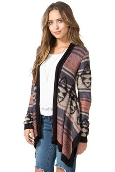 BOUTIQUE FIVE A longline cardi featuring a desert-inspired pattern and an open front. Long sleeves. Ribbed trimming. $34.90