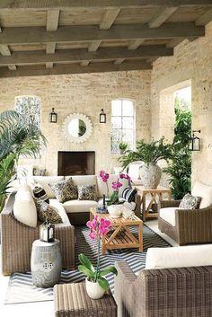 27 Amazing Photos of Fresh Patio Rooms Ideas Interiordesignshome.com Covered patio room with ballard designs sutton collection outdoor furniture