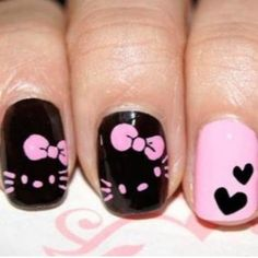 Hello Kitty in black  pink nail art
