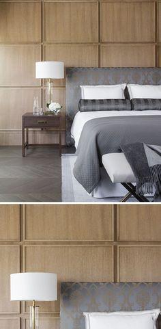 这间现代化的卧室采用方木板,在床后面创造出现代化的口音。
