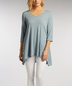 Another great find on #zulily! Faded Denim Side-Button Tunic #zulilyfinds