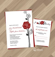 FREE PDF Download - Red Rose Invitation and RSVP. Easy to edit and print at home. For customizations: printableinvitationkits[at]gmail[dot]com