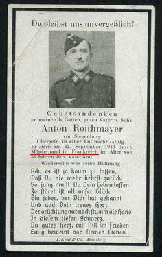 orig WK2 STERBEBILD - DEATH CARD - LUFTNACHRICHTEN - ERMORDET IN FRANKREICH 1943