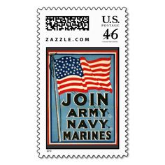 Join Army, Navy, Marines WPA 1917 Postage Stamps
