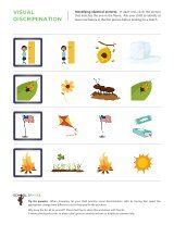 51 Visual Discrimination Worksheets - Visual Discrimination    51 worksheets available    Gain awareness of the differences in visual images through matching identical images, identifying dissimilar images, and identifying common themes among groups of images. - - Pinned by @PediaStaff – Please visit http://ht.ly/63sNt for all (hundreds of) our pediatric therapy pins