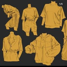 Body Reference Drawing, Art Reference Poses, Character Art, Character Design References, Shirt Drawing, Drawing Anime Clothes, Clothing Sketches, Drawing Expressions, Anime Drawings Sketches