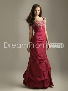 Taffeta Column Sleeveless Square Neckline Floor-length Prom/Evening Dresses