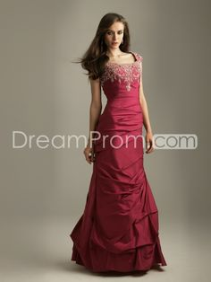 Taffeta Column Sleeveless Square Neckline Floor-length Prom/Evening Dresses