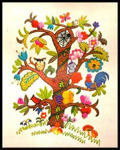 "VINTAGE 1973 ERICA WILSON ""ECOLOGY TREE"" CREWEL EMBROIDERY KIT #ColumbiaMinerva"