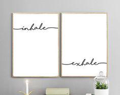 INHALE EXHALE IMPRIMIBLES | Respirar de la impresión, impresión de Yoga, arte minimalista, namaste, meditación, yoga, escandinavo
