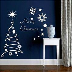 Christmas Vinyl, Christmas Tree Painting, Christmas Wall Art, Wall Stickers Window, Seasonal Decor, Holiday Decor, Christmas Window Decorations, White Snowflake, Tree Wall