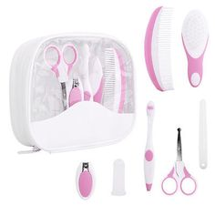 7pcs baby #healthcare and grooming kit #toothbrush with #travel case pink faddish,  View more on the LINK: http://www.zeppy.io/product/gb/2/252585819265/