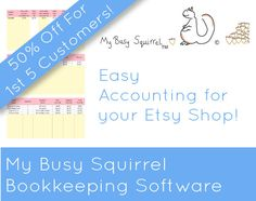 Etsy Accounting Bookkeeping Software Spreadsheet by MyBusySquirrel