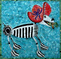 Dia de los muertos dog mosaic by Martin Cheek.