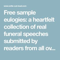 Eulogy Samples  Example Eulogies Funeral Poems Speeches