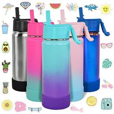 CHILLOUT LIFE 17 oz Insulated Water Bottle with Straw Lid for Kids and Adult + 20 Funny Waterproof Stickers - Perfect for Personalizing Your Kids Metal Water Bottle. Your Drink On The Go Has Never Been Better - CHILLOUT LIFE brings you our latest double walled, vacuum insulated, 18/8 stainless steel drinking bottles / insulated water bottles with straw, so your cold drinks will stay ice cold for up to 24. Our bottles are BPA free and non-toxic so totally safe for you and your kids to enjoy. Choo Cute Water Bottles, Water Bottle With Straw, Drink Bottles, Stainless Steel Straws, Stainless Steel Water Bottle, Blue And White Dinnerware, Travel Bottles, Personalized Notebook, Wet Bag