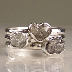 So pretty! Rough Diamond Ring Set  Made to Order by artifactum on Etsy, $299.00