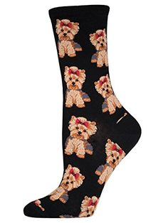 Socksmith Womens Yorkies Crew Socks Black Medium *** You can find more details by visiting the image link. Note: It's an affiliate link to Amazon