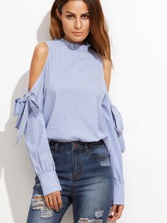 8c3e26682e464c SheIn Korean Fashion Clothing Tops and Blouses for Women Blue Vertical  Striped Ruffle Collar Cold Shoulder Blouse