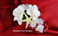 BRIDAL FLOWER COMB Plumeria & Roses Wedding Flowers by MalamaPua, $39.99