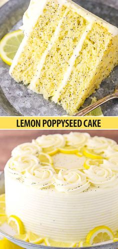 Lemon Poppyseed Cake with Cream Cheese Frosting This Lemon Poppyseed Cake is a tender, moist cake that's full of lemon flavor and poppy seeds! It's covered in a light lemon cream cheese frosting for a cake that's perfect for lemon lovers! Easy Appetizer Recipes, Dessert Recipes, Snickers Torte, Lemon Desserts, Lemon Cake Recipes, Easy Lemon Cake, Lemon Cream Cake, Lemon Cakes, Juice Recipes