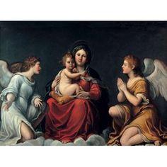 Posterazzi Madonna con Bambino ed angeli Canvas Art - Francesco Albani (22 x 28)
