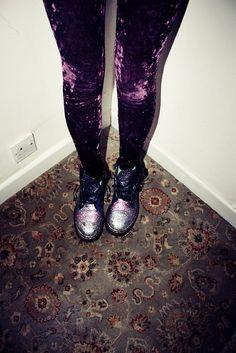 Purple velvet leggings