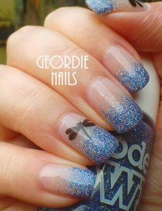 Geordie Nails: Dragonfly & Glitter Manicure