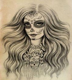 mexican-sugar-skull-tattoo-for-girls.jpg (400×450)
