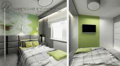 Projekt sypialni Inventive Interiors - akcent zieleni w postaci fototapety w jasnej biało-szarej sypialni