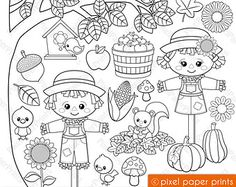 Cute Autumn Elements Fall Clipart Clip Art and Digital Clipart, Arte Country, Dibujos Cute, Girl Falling, Woodland Animals, Farm Animals, Photoshop Elements, Digital Stamps, Print And Cut