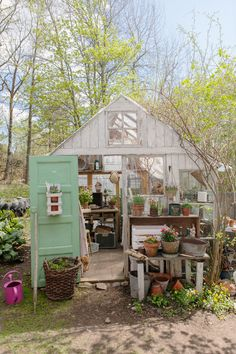 greenhouse--terra cotta/potting bench style moment