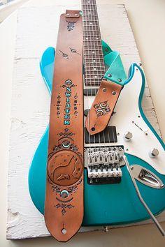 Custom Leather Guitar Strap Wolf Moon Spirit Animal by MesaDreams