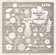 Hand draw Rustic flowers clipart Wedding by 1burlapandlace on Etsy