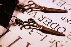 Antique brass scissors earrings
