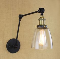 Nordic Iron copper LOFT glass wall lamp long arm European minimalist modern home living room bedroom bedside stairs Cafe lamp Rustic Wall Lighting, Industrial Wall Lights, Wall Sconce Lighting, Decorative Lighting, Industrial Bathroom, Modern Industrial, Black Wall Lights, Led Wall Lights, String Lights